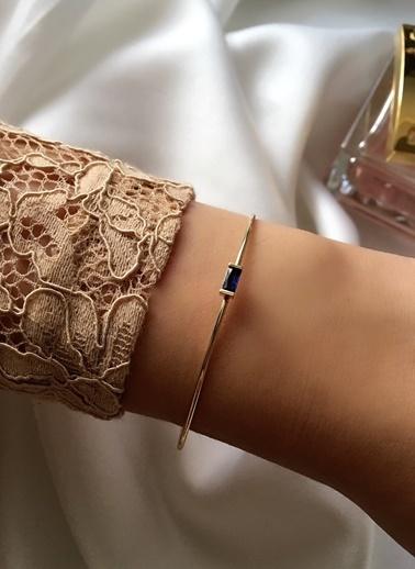My Joyas Design Lacivert Baget Taşlı Çıtır Bilezik Altın